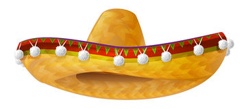 Mexican hat. Mexican wide brimmed hat sombrero. On white vector illustration Stock Photo