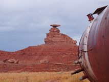 Mexican Hat and an old gas tank royalty free stock image
