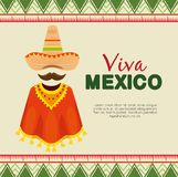 Mexican hat with poncho and mustache to event. Vector illustration royalty free illustration