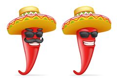 Mexican hat red cool hot chili pepper sunglasses mustache happy character realistic 3d cartoon design vector Royalty Free Stock Photo