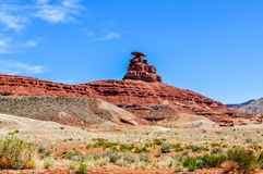Mexican Hat on a Sandstone Ridge in Utah stock photo