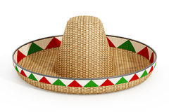 Mexican hat or sombrero and Mexican flags  on white background. 3D illustration Royalty Free Stock Photos