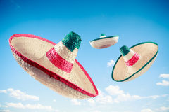Mexican hat / sombreros in the sky Royalty Free Stock Photography