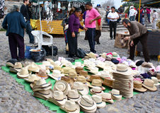 Mexican hats at open air market. Mexican straw hats for sale at a fiesta market in Tepotzotlan Stock Image