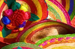 Mexican hats. Pile of Mexican sombrero hats stock photography