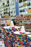 Mexican hats in Tourist shop Stock Images