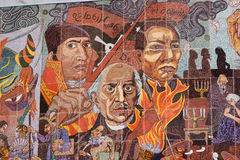 Mexican heros. Detail of the mural located at Insurgentes theater by Diego Rivera in Mexico City. This Mural was made of small pieces of colored material stock images