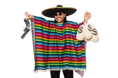 Mexican holding gun and money bag isolated on Royalty Free Stock Images