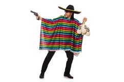 Mexican holding gun and money bag isolated on Royalty Free Stock Photo