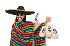 Mexican holding gun and money bag isolated on the Royalty Free Stock Image