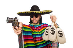 Mexican holding gun and money bag isolated on Royalty Free Stock Photography