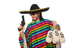 Mexican holding gun and money bag isolated on Stock Photography