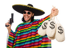 Mexican holding gun and money bag isolated on Stock Photos