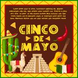 Mexican holiday card for Cinco de Mayo design. Mexican holiday greeting card for Cinco de Mayo celebration. Fiesta party sombrero hat, chili pepper and Mexico Stock Photography