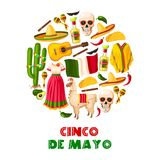 Mexican holiday card of Cinco de Mayo fiesta party. Mexican holiday greeting card for Cinco de Mayo fiesta party. Sombrero hat, chili pepper and jalapeno Royalty Free Stock Images