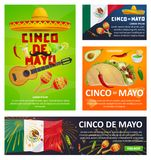 Mexican holiday card of Cinco de Mayo fiesta party. Mexican holiday greeting card set for Cinco de Mayo fiesta party design. Festive sombrero hat, maracas and Royalty Free Stock Image