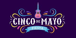 Mexican holiday card Cinco de Mayo 5 may. Decorative and traditional mexican elements guitar, sombrero. Mexican symbols. Vector royalty free illustration