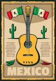 Mexican holiday Cinco de Mayo fiesta sketch poster. Cinco de Mayo Mexican holiday sketch poster of Mexico flag and jalapeno peppers for traditional fiesta Royalty Free Stock Photography
