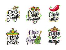 Mexican holiday Cinco de Mayo. Hand drawn vector lettering set phrases. Isolated on white background royalty free illustration