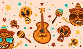 Mexican holiday Cinco De Mayo. Vector template with traditional Mexican symbols skull, guitar, Mexican Maracas. Day Of Dead Tradi. Mexican holiday Cinco De Mayo vector illustration