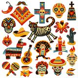 Mexican Holiday Day Of Dead Set. Set of mexican holiday symbols of day of dead including skulls, sombrero, music instruments vector illustration vector illustration