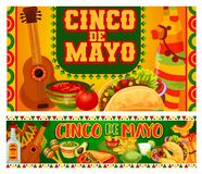 Mexican holiday guitar and Cinco de Mayo food. Cinco de Mayo Mexican holiday food, mariachi guitar and maracas vector greeting cards. Fiesta party tequila vector illustration