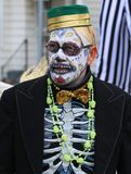 Mexican holiday Parade. Marchers wear skeleton costumes at the Mexican holiday Parade (Day of the Dead)(Dia de Muertos Stock Photo