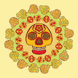 Mexican holiday symbol - calavera, surrounded by smaller skulls Stock Images