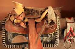 Mexican horse saddle. Traditional mexican saddle prepared for horse riding Royalty Free Stock Photos
