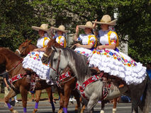 Mexican Horse Women Group. Photo of mexican women riding horses at the parade at fiesta dc-festival latino on 9/19/15.  Fiesta dc is a latino festival held every Stock Image