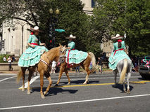 Mexican Horse Women Riding. Photo of mexican women riding horses at the parade at fiesta dc-festival latino on 9/19/15.  Fiesta dc is a latino festival held Royalty Free Stock Images