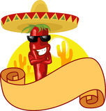 Mexican hot chili and banner Royalty Free Stock Photo