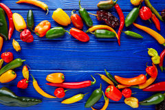 Mexican hot chili peppers colorful mix Royalty Free Stock Images