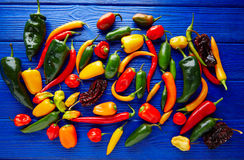 Mexican hot chili peppers colorful mix Stock Photos