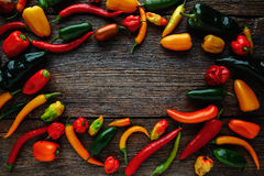 Mexican hot chili peppers colorful mix Stock Image
