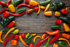 Mexican hot chili peppers colorful mix Royalty Free Stock Photography