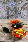 Mexican hot chili peppers colorful mix jalapeno on orange bowls Royalty Free Stock Image
