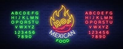 Mexican hot food logo in neon style. Neon sign, design template for Mexican restaurant, cafe, bar. Bright glowing banner. Advertisement, neon billboard. Vector Royalty Free Stock Image