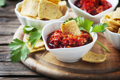 Mexican hot salsa with chili peppers Royalty Free Stock Photo