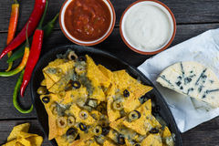 Mexican hot street food nachos with salsa dip Stock Photo