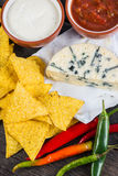 Mexican hot street food nachos with salsa dip Royalty Free Stock Image