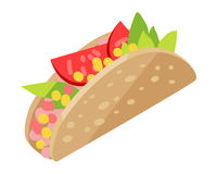 Mexican Hotdog Isolated on White. Sonoran Hot Dog. Royalty Free Stock Photography