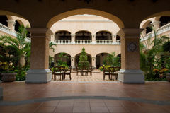 Mexican hotel lobby. Mexican style hotel lobby and patio area Royalty Free Stock Photos