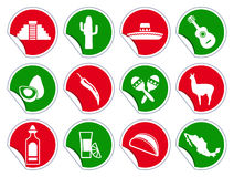 Mexican icon set on stickers Stock Images