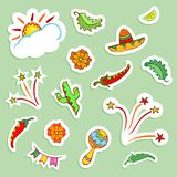 Mexican icons collection. Doodle style elements. Stickers effect with shadows. Vector illustration Stock Photo