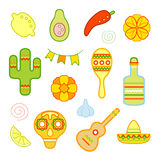 Mexican icons collection. Stylized marigold flowers, cactus, maraca, sombrero, skull and chili pepper colored symbols. Vector illustration Stock Photo