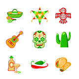 Mexican icons Royalty Free Stock Images