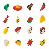 Mexican Icons Isometric Stock Images