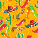 Mexican icons pattern. Mexican pattern with cactus, hat, colors chili, and Mexico ribbon illustration over grunge background. Useful for menu design