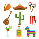 Mexican icons set flat Royalty Free Stock Photography